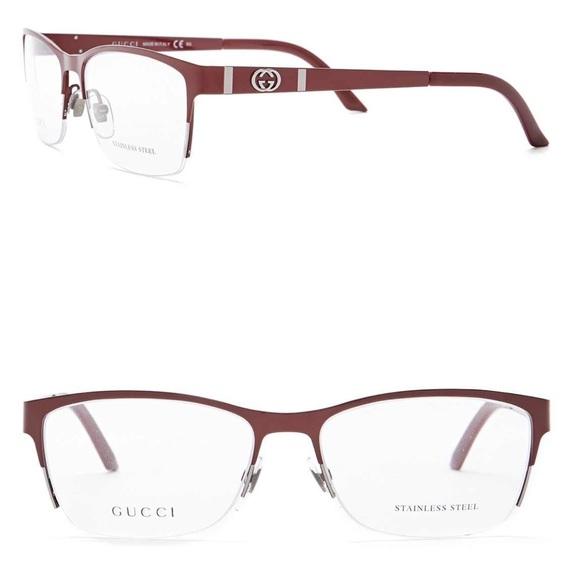 1c6052edbaa Gucci RED rectangular eyeglasses frames case NWT